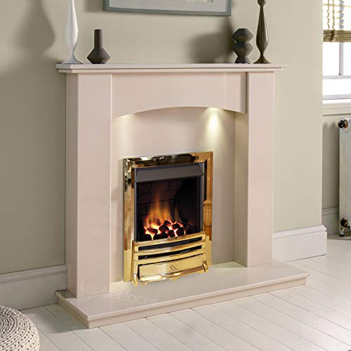 Cream Stone Marble Curved Modern Wall Surround Gas Fireplace Suite Brass Inset Gas Fire with Downlights