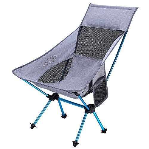 G4Free Portable Camping Chairs, Medium Size Ultralight Folding Compact Chair Heavy Duty 265lbs with Carry Bag for Outdoor Hiking Backpacking Picnic Beach (Gray)