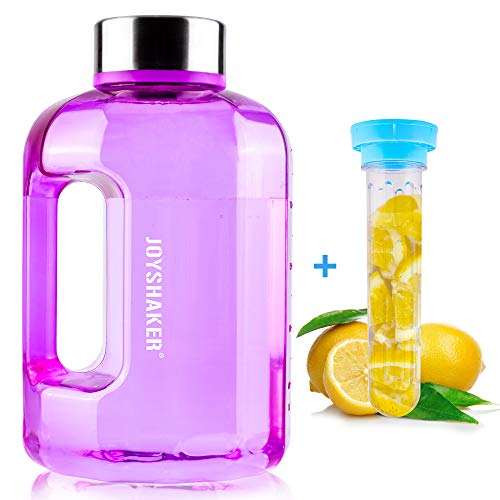 BOTTLED JOY Water Jug 75oz Water Bottle 2.2L Large Water Bottle Clear Water Bottle Sports Water Bottle Wide Mouth BPA Free, Stainless Steel Water Bottle with Fruit Infuser