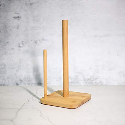 LouisaYork - Portarrollos de Cocina de Madera, Vertical de bambú, dispensador de pañuelos de Doble Poste de Madera, Soporte para Utensilios de Cocina para el hogar