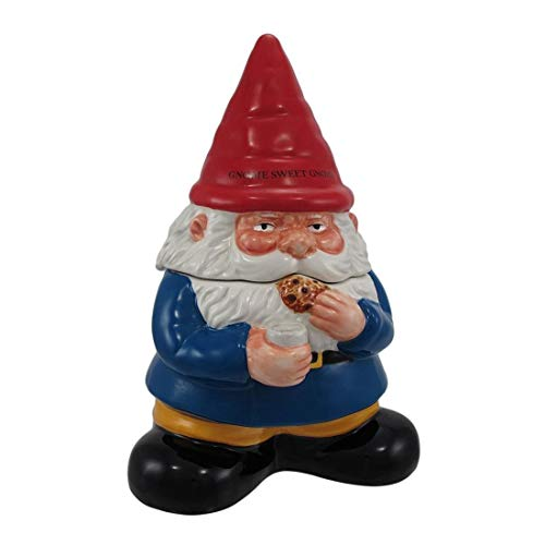 10 Inch Gnome Sweet Gnome Cookie Eating Ceramic Jar Figurine