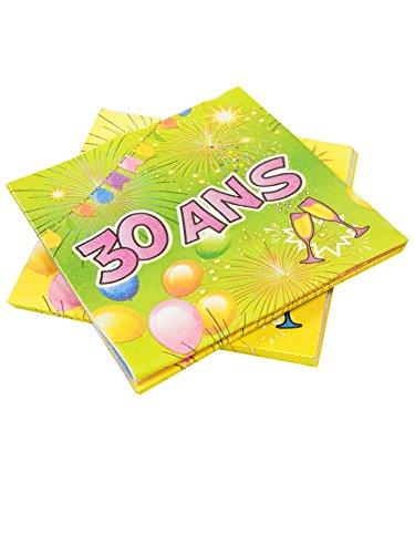 COOLMP – Lote de 3 – 20 servilletas de papel para 30 años de cumpleaños, fiesta, 33 cm – Talla única – Decoración y accesorios de fiesta, animación festiva, cumpleaños, boda, evento, juguete, cotillon