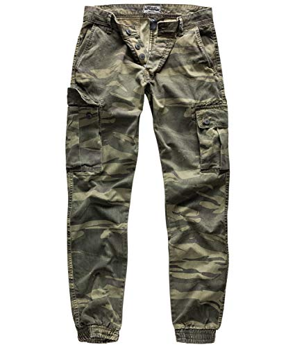 Surplus Raw Vintage Herren Cargo Bad Boys Pants, Green-camo, L