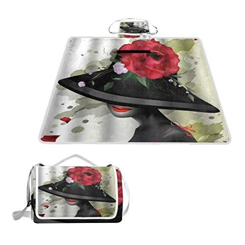 XINGAKA Picknickdecke,Rote Rose im 3D Retro Stil mit schwarzem Hut,Outdoor Stranddecke wasserdichte sanddichte tolle Picknick Matte