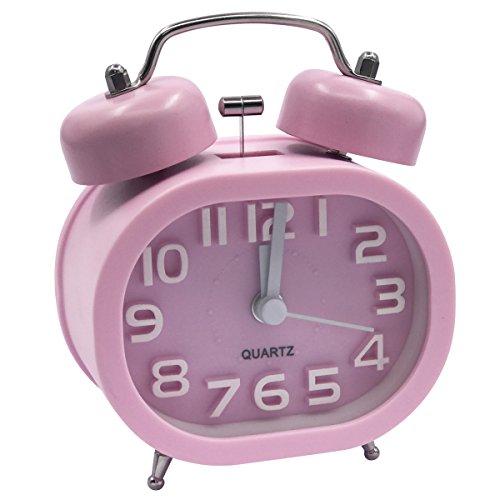 EASEHOME Retro Reloj Despertador Analógico de Cuarzo, 3' Doble Campanas Despertadores Silencioso Vintage Relojes de Mesita Sin Tictac con Luz de Noche y Fuerte Alarma para Niños Adultos, Rosa