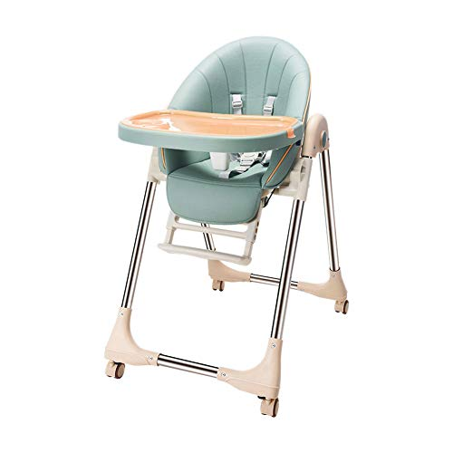 Baby Highchair Adjustable Dining Chair, Reclines, Foldable with Removable Tray for Toddler, from 6 Month to 3 Years (Green)