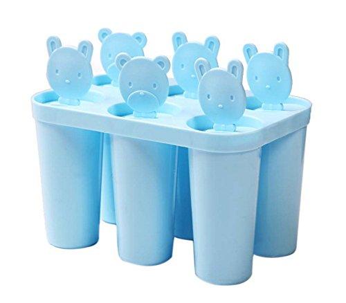 Spicy Meow Moldes para Hacer Helados artesanales en casa Moldes para Helados en paletas congelados 6 Rejas Redondo, Azul