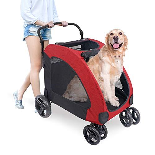 ペットカート 犬用 キャリーカート ペットバギー 折りたたみ式 大型犬 多頭中小型犬 犬用 猫用 ドッグカート-レッド (307 型)