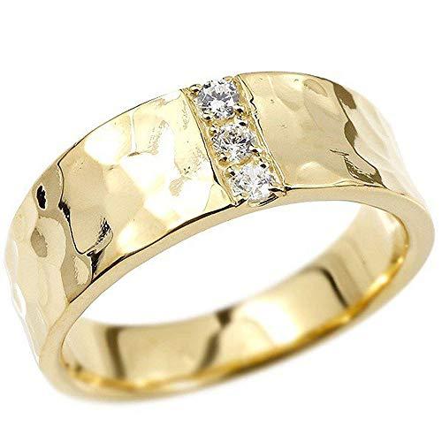 [アトラス]Atrus リング メンズ 10金 イエローゴールドk10 ダイヤモンド 幅広 槌目 槌打ち ロック仕上げ 平角 指輪 29号
