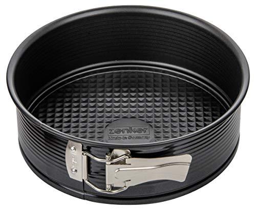 Zenker Springform Ø 20 cm, Backform mit Antihaftbeschichtung, runde Kuchenform mit Flachboden (Farbe: schwarz), Menge: 1 Stück