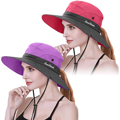 2 Pieces Womens Ponytail UV Protection Sun Hat Packable Wide Brim Boonie Cap for Fishing Hiking (Purple & Watermelon Red)
