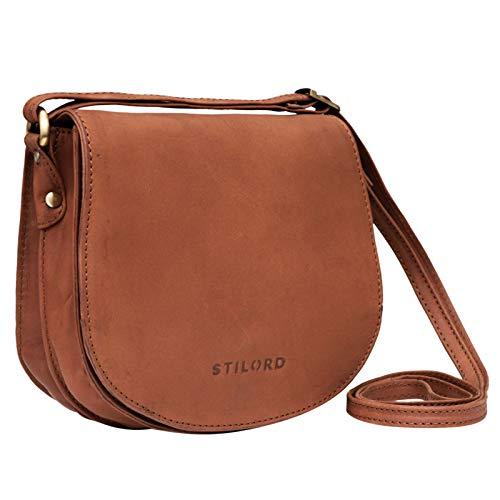 STILORD 'Lilly' Kleine Leder Tasche Damen Vintage Umhängetasche Handtasche zum Ausgehen Abendtasche Partytasche Freizeittasche für Frauen Echtleder, Farbe:sattel - braun, Größe:M