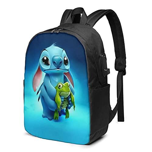Mochila de dibujos animados anime Lilo Stitch Business Travel School con cable de carga USB Interfaz de auriculares de gran capacidad para portátiles de 13 a 17 pulgadas