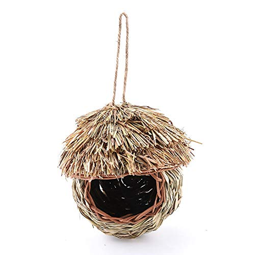 Outdoor Vogelhuisje Kunstmatige Handwoven Straw Opknoping Vogelnest Birdhouse Huis Outdoor Yard Garden Ornament For Parrot Canary Overige Vogels Tuin Decoratie (Color : A, Size : 21X8.5X18CM)