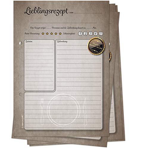 Luminick 50 Rezeptkarten, Retro-Design, zum Selberschreiben DIN A5, für eigenes Rezeptbuch & Rezeptordner zum Eintragen & Sammeln, für eigene Rezepte DIY, 170gr Papier, matt, fertig gelocht