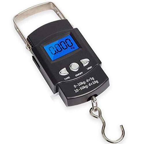 Emoly Balança de pesca 110 lb/50 kg, tela LCD retroiluminada, equilíbrio eletrônico portátil, balança de pendurar com régua de fita métrica para bolsa de equipamento, bagagem, bagagem