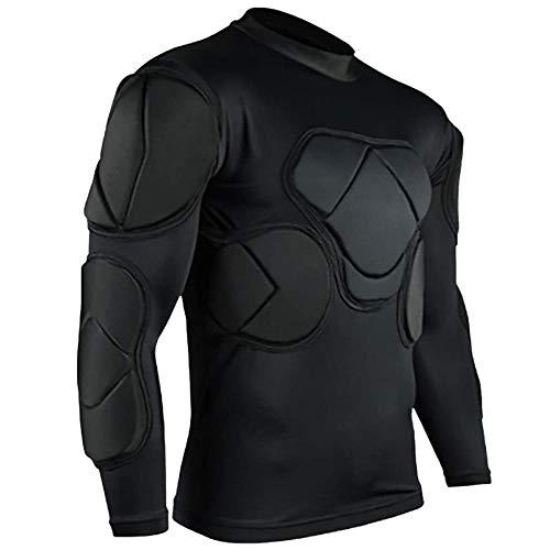 Camisa de compresión acolchada para hombre, traje de entrenamiento seguro para el cuerpo, protector de pecho, equipo protector de costilla de hombro de manga larga, para fútbol lacrosse(M,Coat)