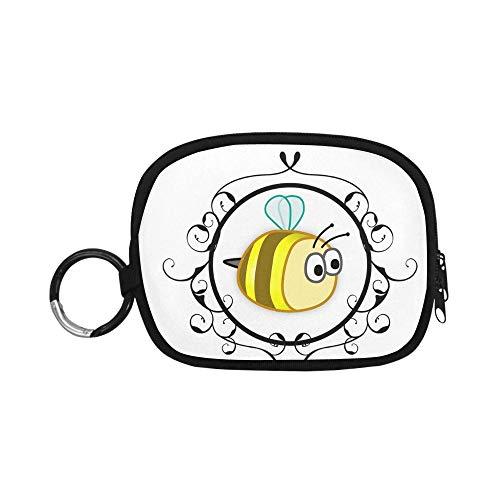 Mini Bolsa de Cambio Abeja Amarilla enmarcada Lindo diseño Animal bebé Verano Efectivo y Monedero Retro Moneda Bolsa Cremallera con Llavero Anillo para niña Mujer niños