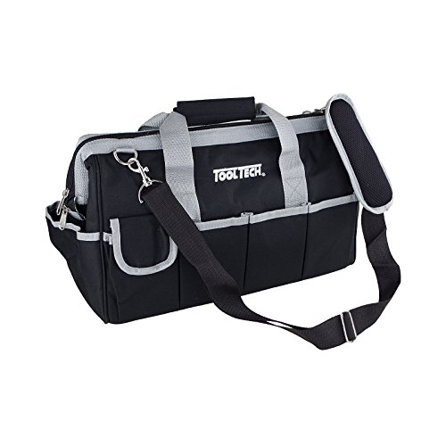 Gereedschapstas 40 x 20 x 25 cm nylon zwart leeg draagtas ritssluiting tas