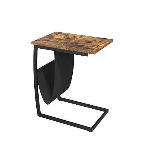 Yusong Beistelltisch, Beistelltisch mit Zeitschriftenhalter für Wohnzimmer, C-förmiger Tisch mit stabilem Metallrahmen, Sofatisch für Kaffee, Snack, Laptop, einfache Montage, rustikales Braun