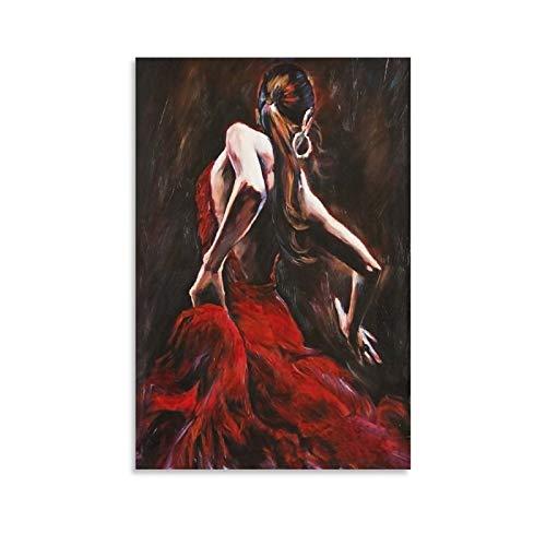 Peinture décorative sur toile représentant une danseuse de flamenco, 60 x 90 cm