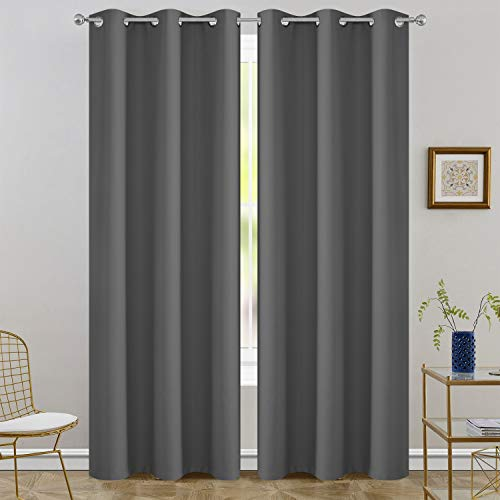 FLOWEROOM Room Darkening Blackout Curtains Thermal Insulated Draperies with Grommet for Living Room, Grey, 42 x 84 inch, 2 Panels