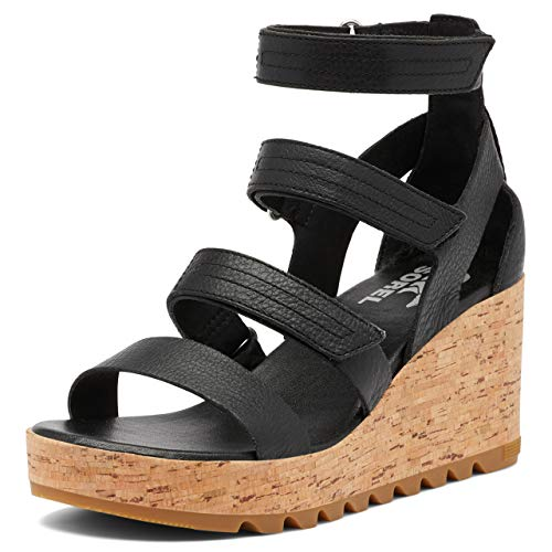 Sorel Women's Cameron Wedge Multi Strap Sandal - Black, Brown - Size 11