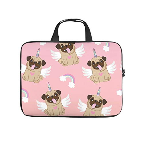Unicorn Pug Multifuntional High Capacity Laptop Bag with Strap Laptop case Sleeve Computer Carry Bag for Work Study for Workers Students White 12 Zoll