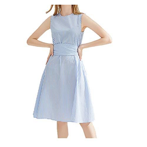 N\P Vestido de mujer a rayas sin mangas mediados falda larga cintura alta una línea de falda de las mujeres primavera y verano