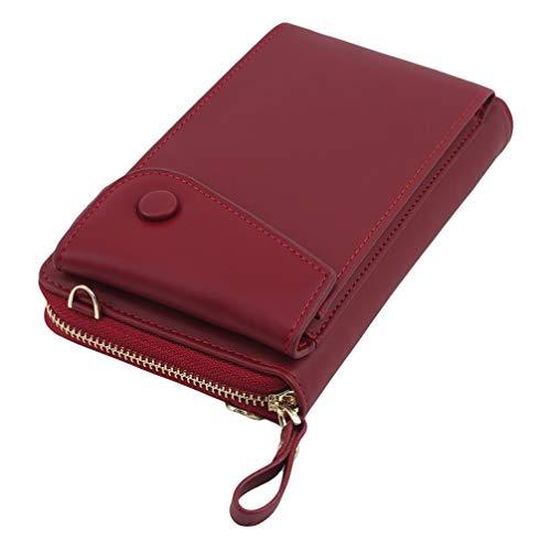 Toporchid Umhängetasche Handy Geldbörse Brieftasche Kartentasche für Frauen (rot)