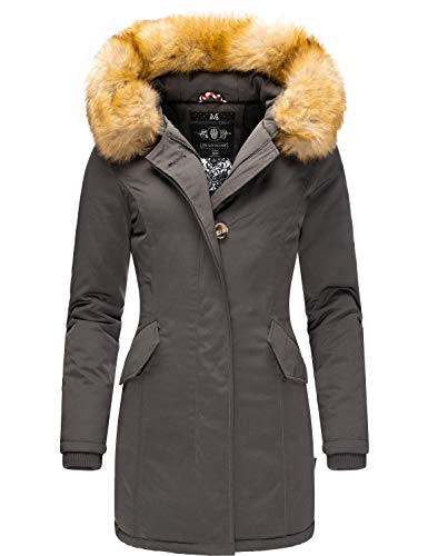 Marikoo Damen Winter Mantel Winterparka Karmaa Anthrazitgrau Gr. XL