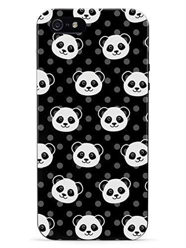 Inspired Cases - 3D Textured iPhone 5/5s/5SE Case - Rubber Bumper Cover - Protective Phone Case for Apple iPhone 5/5s/5SE - Cute Panda Pattern - Black Polka Dots