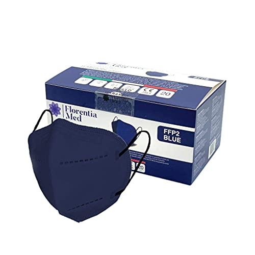 Florentia Med Mascherine FFP2 BLU MADE IN ITALY Certificate CE Categoria DPI: III, conformi EN 149:2001 + A1:2009. Box da 20 pezzi Confezionate e sigillate singolarmente