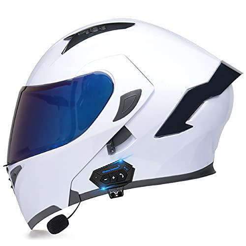 Modularer Klapphelm mit doppelter Sonnenblende. Motorradhelm, Bluetooth, Integralhelm, DOT/ECE-geprüft, integrierter MP3, integrierte Kommunikationsbelüftung für Männer und Frauen, 55-60 cm