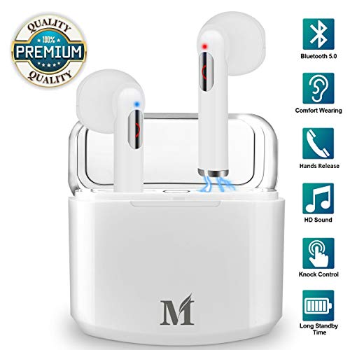 Wireless Earbuds Bluetooth 5.0,Wireless Earphones in Ear with Mic for Running,Wireless Headphones with Microphone, Mini Sports Earbuds Sweatproof with Portable Charging Case Compatible iOS Android