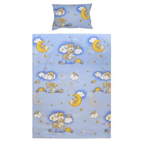 BlueberryShop Bettwäscheset fürs Kinderbett, Bettbezug 120 x 90 cm, Kissenbezug 40 x 60 cm, Für Kinder von 0-7 Jahren geeignet, Blau Bär auf der Leiter