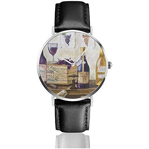 Botella de Madera Reloj de UVA de Vino Reloj de Cuarzo de Acero Inoxidable para Hombres con Correa de Cuero de la PU Unisex