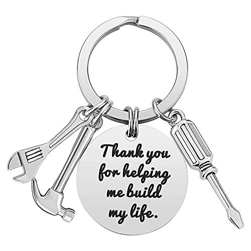 Llavero con bolsillo para llaves con caja de regalo, elegante, funcional y práctico llavero de plata con destornillador, martillo – Gracias por ayudarme a construir mi vida