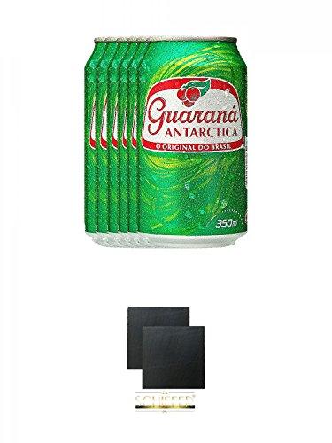 Guarana Antarctica in Dose 6 x 0,33 Liter + Schiefer Glasuntersetzer eckig ca. 9,5 cm Ø 2 Stück