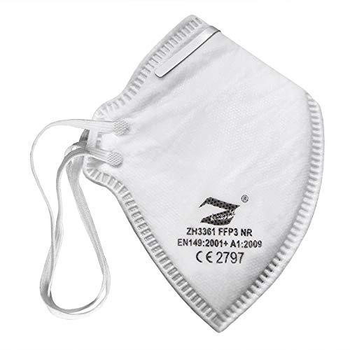 ALPIDEX Mundschutz FFP3 Maske 1/2/5/10/20/50 Stück mit verstellbarem Nasenclip - Filterleistung 99%, Menge:10 Stück