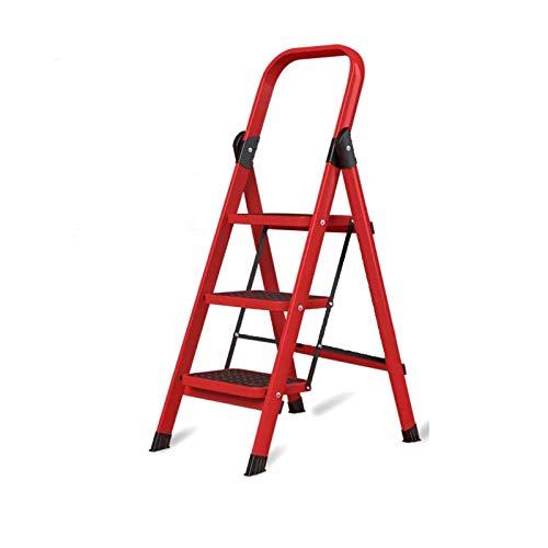 QFF Safe - Escalera plegable de 3 etapas (hierro, escalera, metal, multifunción, escalera, bricolaje, herramientas – Color rojo, tamaño: 53 x 61 x 112,5 cm)