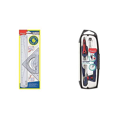 Maped 897118 - Kit de regla zurdos, escuadra y transportador, 3 piezas + 196100 - Compás, 1 unidad [modelo surtido]