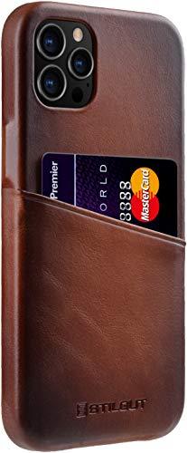 StilGut Cover Premium Compatible con iPhone 12 Pro Max (6.7') Funda con Tarjetero, Case de Cuero Funda de Tarjeta, - Cognac Antiguo