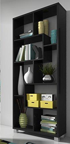SelectionHome - Estanteria libreria de diseno Comedor salon, Color Negro Mate, Medidas: 68,5 x 161 x 25 cm de Fondo