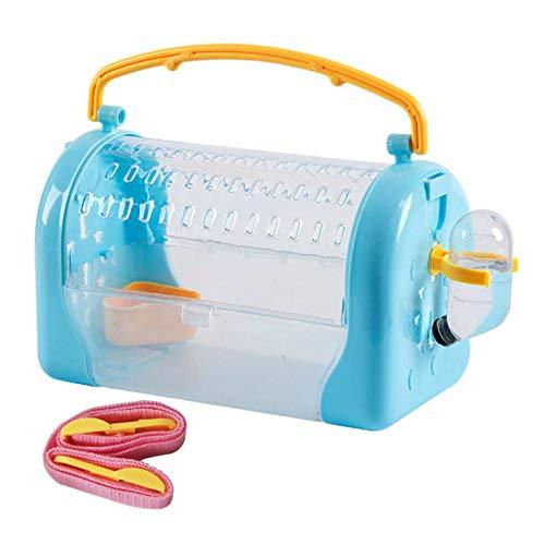 Kathson Jaula portadora de viaje para hámster con botella de agua jaula de salida y correa ajustable jaula para mascotas para pequeñas mascotas, erizos, planeador de azúcar, ardilla y ratones
