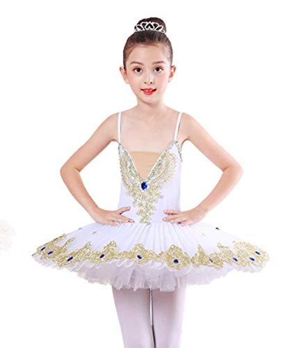 ZYLL Mädchen Schwanensee Ballett Prinzessin-Tanz-Kleid-Kostüm Kinder Tutu Leotard Balletttanz-Kostüm Ballsaal Dacing Kleid,Weiß,130CM