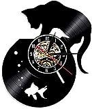 WJUNM 1 Pieza de Reloj de Pared con Disco de Vinilo de Gato Negro y Acuario Proporciona Hechos a Mano para los Amantes de los Gatos. Reloj de decoración de Animales Personalizado