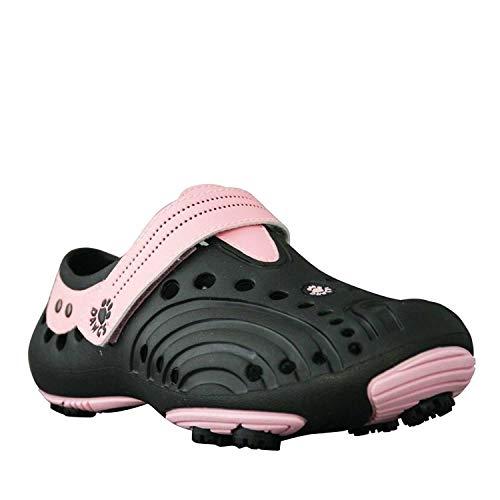 Dawgs golfschoenen dames - maat 38 - zwart-roze - zacht en duurzaam Eva-materiaal - uitneembare schuimbinnenzool - gevormde voetgewelfsteun - dikke gevoerde hiel.