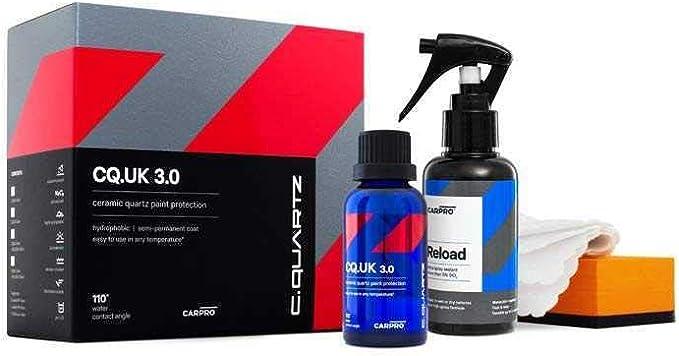 Carpro CQUARTZ UK 3.0_50ml Kit w/Reload - Ceramic Coating Finish, Quartz Based Nanotechnology, Bonds to Paint, Glass, Metal and Plastic: image