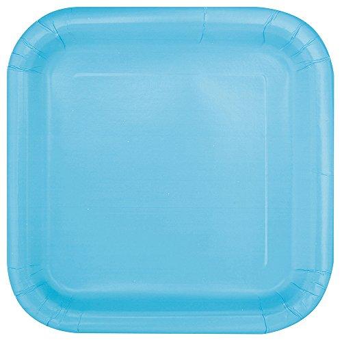 Unique Party - 30900 - Paquet de 16 Assiettes Carrées en Carton - 18 cm - Bleu Pastel